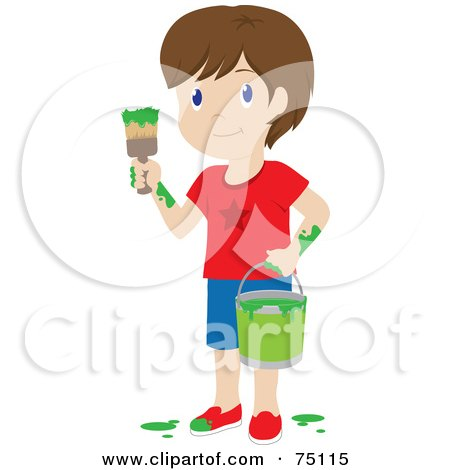 Royalty-Free (RF) Clipart Illustration of a Little Brunette Caucasian Boy Painting With Green Paint by Rosie Piter