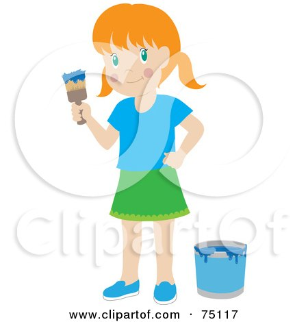 Royalty-Free (RF) Clipart Illustration of a Little Red Haired Caucasian Girl Painting With Blue Paint by Rosie Piter