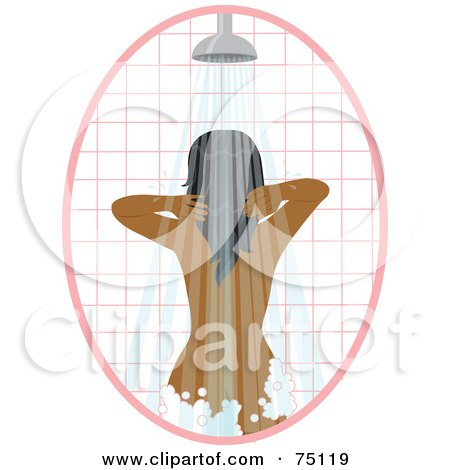 Royalty-Free (RF) Clipart Illustration of a African American Woman Washing Her Hair In A Shower by Rosie Piter