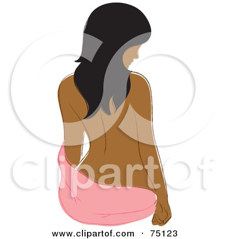 Royalty-Free (RF) Clipart Illustration of a Nude Indian Woman Sitting With A Pink Towel by Rosie Piter