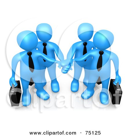Royalty-Free (RF) Clipart Illustration of Four Blue Business People Carrying Briefcases And Standing With Their Hands Piled by 3poD