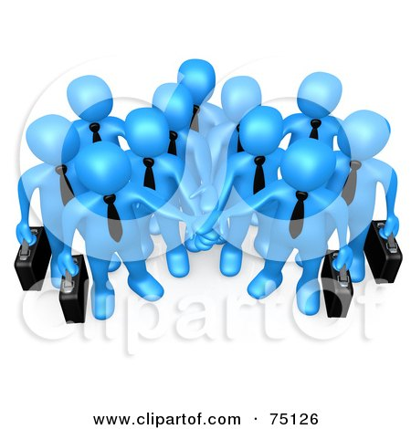 Royalty-Free (RF) Clipart Illustration of a Group Of Blue Business People Carrying Briefcases And Standing With Their Hands Piled by 3poD