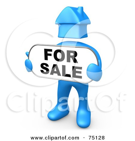 Royalty-Free (RF) Clipart Illustration of a Blue Person With A House Head, Holding A For Sale Sign by 3poD
