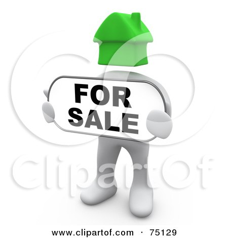 Royalty-Free (RF) Clipart Illustration of a White Person With A Green House Head, Holding A For Sale Sign by 3poD
