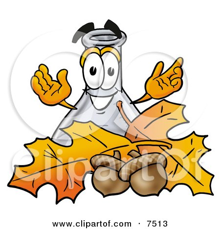 an Erlenmeyer Conical Laboratory Flask Beaker Mascot Cartoon Character With Autumn Leaves and Acorns in the Fall Posters, Art Prints
