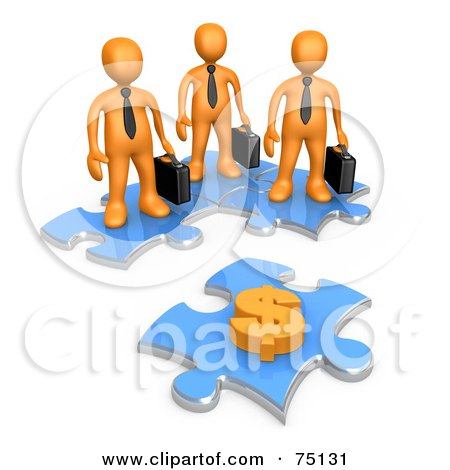 Royalty-Free (RF) Clipart Illustration of a Group Of 3d Orange Businessmen Standing On Joined Puzzle Pieces And Looking At A Dollar Symbol On Another Piece by 3poD