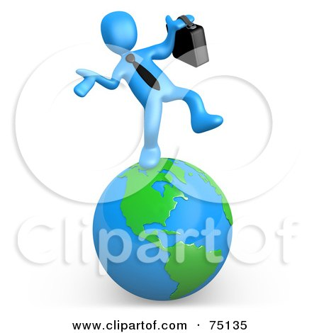 Royalty-Free (RF) Clipart Illustration of a Blue Person Businessman Walking On A Globe by 3poD