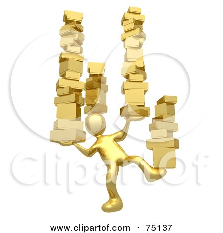 Royalty-Free (RF) Clipart Illustration of a 3d Gold Man Balancing Stacks Of Boxes by 3poD
