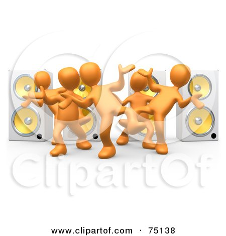 Royalty-Free (RF) Clipart Illustration of a Group Of 3d Orange People Dancing In Front Of Speakers by 3poD