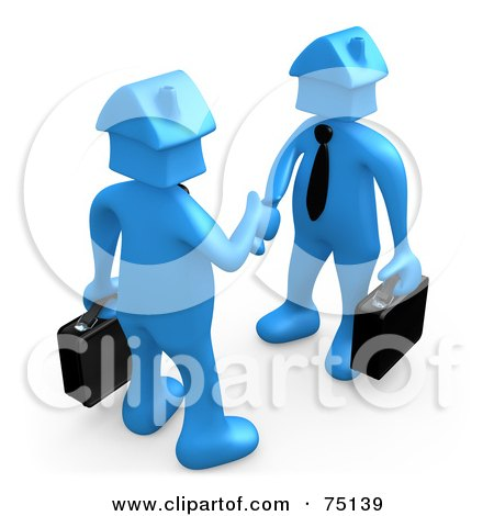 Royalty-Free (RF) Clipart Illustration of Two Blue House Head People Shaking Hands by 3poD