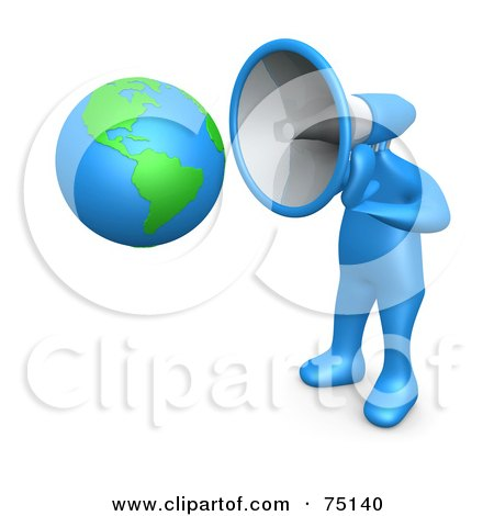Royalty-Free (RF) Clipart Illustration of a Blue Person With A Megaphone Head Pointed To A Globe by 3poD