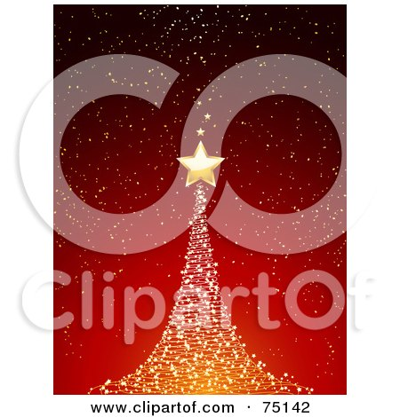 Royalty-Free (RF) Clipart Illustration Of A Starry Gold Christmas Tree On Red by elaineitalia