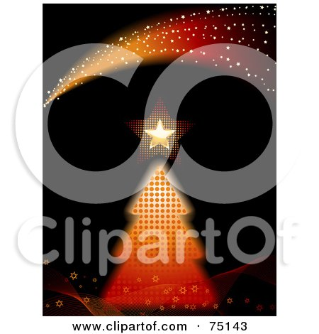 Royalty-Free (RF) Clipart Illustration Of A Halftone Christmas Tree With A Gold Star Under Sparkle Waves On Black by elaineitalia