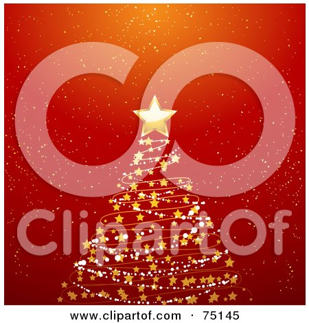 Royalty-Free (RF) Clipart Illustration Of A Starry Spiral Christmas Tree On Red by elaineitalia