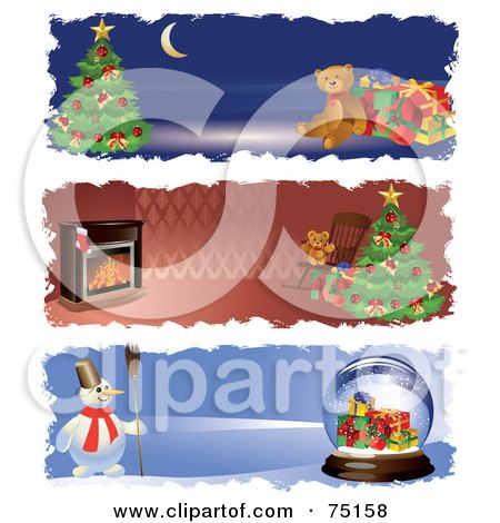 Royalty-Free (RF) Clipart Illustration of a Digital Collage Of Christmas Teddy Bear, Fireplace And Snowman Website Banners by Eugene