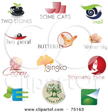 Royalty-Free (RF) Clipart Illustration of a Digital Collage Of Spa, Pottery, Snail, Pearl, Butterfly, Lotus, Cocoon, Ginkgo, Beauty And Eco Logo Icons by Eugene