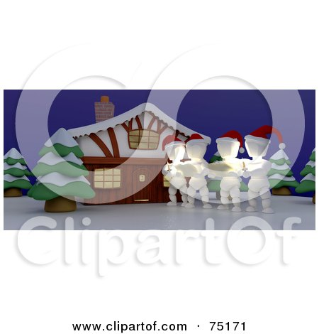Royalty-Free (RF) Clipart Illustration of a Group Of 3d White Characters Singing Christmas Carols Outside A House by KJ Pargeter
