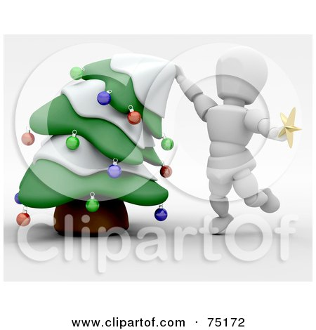 Royalty-Free (RF) Clipart Illustration of a 3d White Character Bending A Christmas Tree To Put The Star Topper On by KJ Pargeter