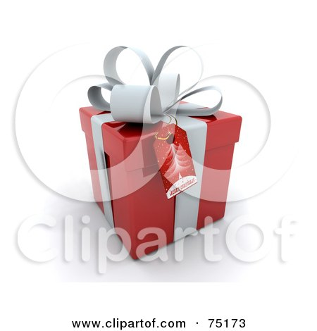 Royalty-Free (RF) Clipart Illustration of a Christmas Tree Gift Tag On A 3d Red And White Gift Box by KJ Pargeter