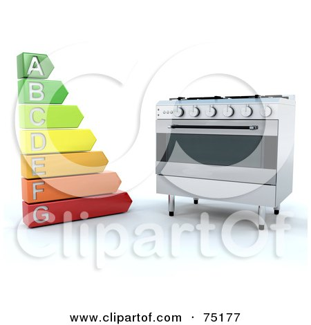 Royalty-Free (RF) Clipart Illustration of an Energy Rating Chart By A Modern Oven by KJ Pargeter