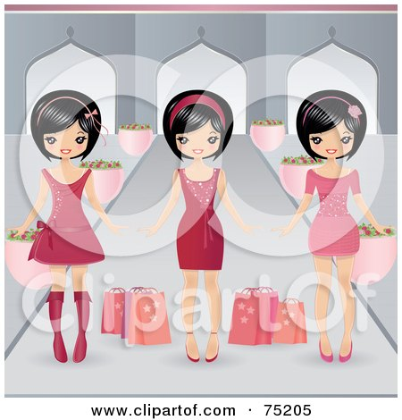 Royalty-Free (RF) Clipart Illustration of Three Asian Girls In Pink Dresses by Melisende Vector