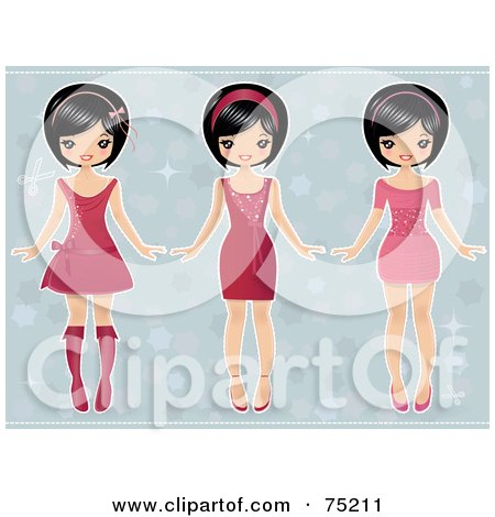 Royalty-Free (RF) Clipart Illustration of a Digital Collage Of Three Asian Girls In Dresses by Melisende Vector