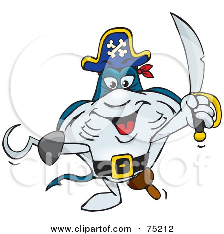 Royalty-Free (RF) Clipart Illustration of a Stingray Pirate With a Peg Leg by Dennis Holmes Designs