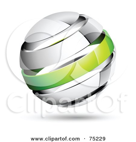 Royalty-Free (RF) Clipart Illustration of a Pre-Made Business Logo Of A Shiny White And Green Globe by beboy