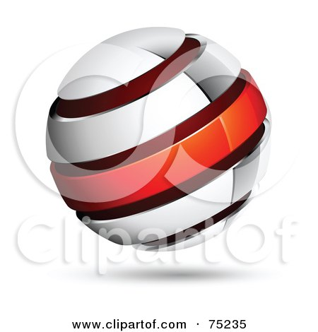 Royalty-Free (RF) Clipart Illustration of a Pre-Made Business Logo Of A White, Blue And Red Globe by beboy