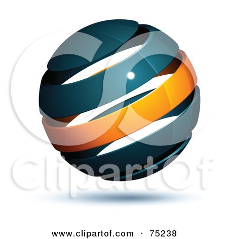 Royalty-Free (RF) Clipart Illustration of a Pre-Made Business Logo Of A Navy Blue And Orange Globe by beboy