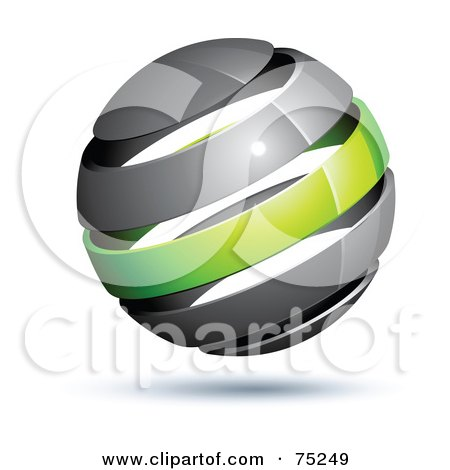 Royalty-Free (RF) Clipart Illustration of a Pre-Made Business Logo Of A Gray And Green Globe by beboy