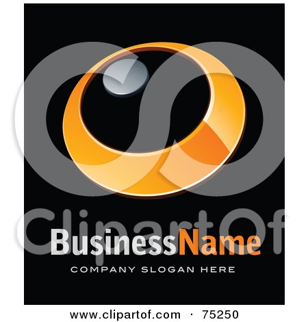 Royalty-Free (RF) Clipart Illustration of a Pre-Made Business Logo Of An Orange Ring With A Chrome Dot by beboy