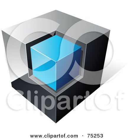 Royalty-Free (RF) Clipart Illustration of a Pre-Made Business Logo Of A Chrome And Blue Cube On White by beboy