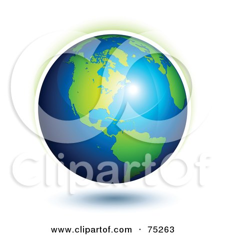 Royalty-Free (RF) Clipart Illustration Of A Bright Light Reflecting Off Of A 3d Earth by beboy