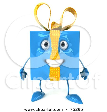 Royalty-Free (RF) Clipart Illustration of a 3d Blue Gift Character With A Bow by Julos