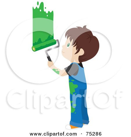 Royalty-Free (RF) Clipart Illustration of a Little Caucasian Boy In Splattered Overalls, Painting A Wall Green by Rosie Piter