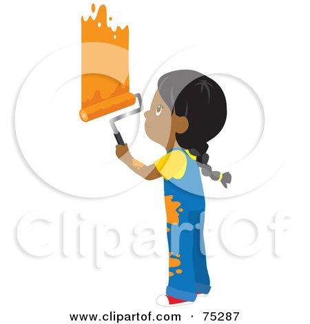 Royalty-Free (RF) Clipart Illustration of a Little African American Girl In Splattered Overalls, Painting A Wall Orange by Rosie Piter