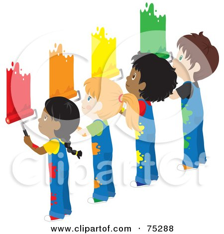 Royalty-Free (RF) Clipart Illustration of African American And Caucasian Boys And Girls In Splattered Overalls, Painting A Wall Different Colors by Rosie Piter
