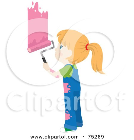 Royalty-Free (RF) Clipart Illustration of a Little Caucasian Girl In Splattered Overalls, Painting A Wall Pink by Rosie Piter