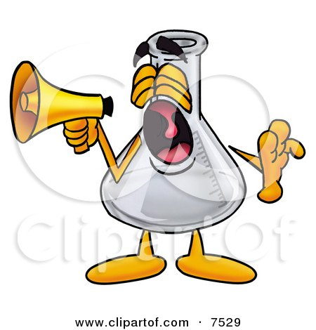 Clipart Picture of an Erlenmeyer Conical Laboratory Flask Beaker Mascot Cartoon Character Screaming Into a Megaphone by Toons4Biz