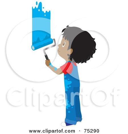 Royalty-Free (RF) Clipart Illustration of a Little African American Boy In Splattered Overalls, Painting A Wall Blue by Rosie Piter