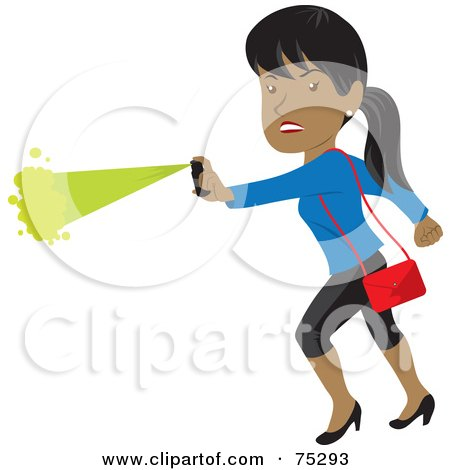 Royalty-Free (RF) Clipart Illustration of a Tough Hispanic Woman Defending Herself With Pepper Spray by Rosie Piter