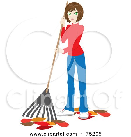 Royalty-Free (RF) Clipart Illustration of a Brunette Caucasian Woman Raking Up Autumn Leaves In Her Yard by Rosie Piter