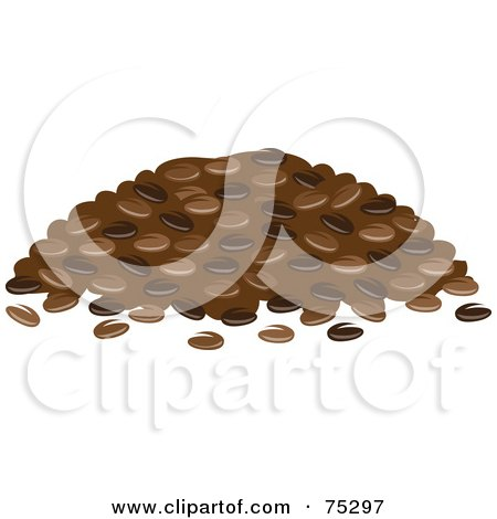 Royalty-Free (RF) Clipart Illustration of a Pile of Roasted Coffee Beans by Rosie Piter