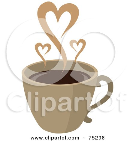 Royalty-Free (RF) Clipart Illustration of Steam Hearts Rising From A Brown Cup Of Coffee by Rosie Piter