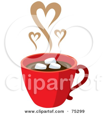Royalty-Free (RF) Clipart Illustration of a Red Cup Of Hot Chocolate With Marshmallows And Steam Hearts by Rosie Piter