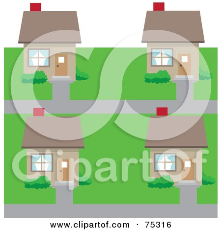 Royalty-Free (RF) Clipart Illustration of a Neighborhood Of Cookie Cutter Houses In A Subdivision by Rosie Piter