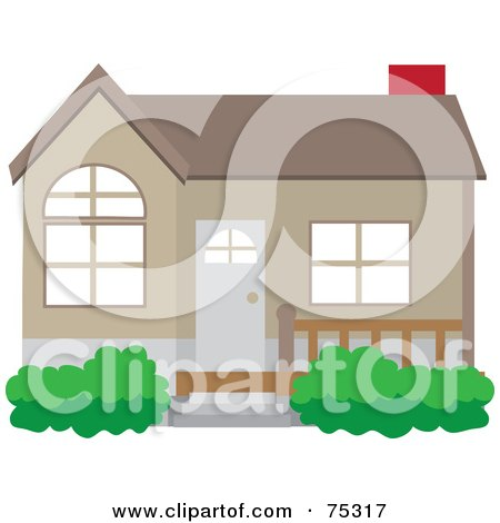 Royalty-Free (RF) Clipart Illustration of a Cute Brown House With A Front Patio And Red Chimney by Rosie Piter