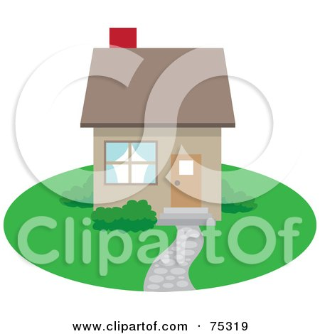 Royalty-Free (RF) Clipart Illustration of a Small Brown Home With A Path And Red Chimney by Rosie Piter