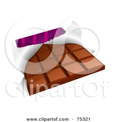 Royalty-Free (RF) Clipart Illustration of a Chocolate Candy Bar With A Torn Wrapper by Oligo